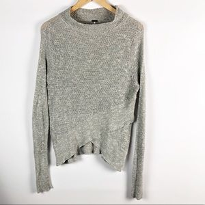 Free People Gray Long Sleeve Top Size: Small